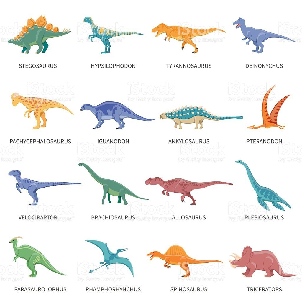 Colored Isolated Icons Set Of Different Types Of Dinosaurs