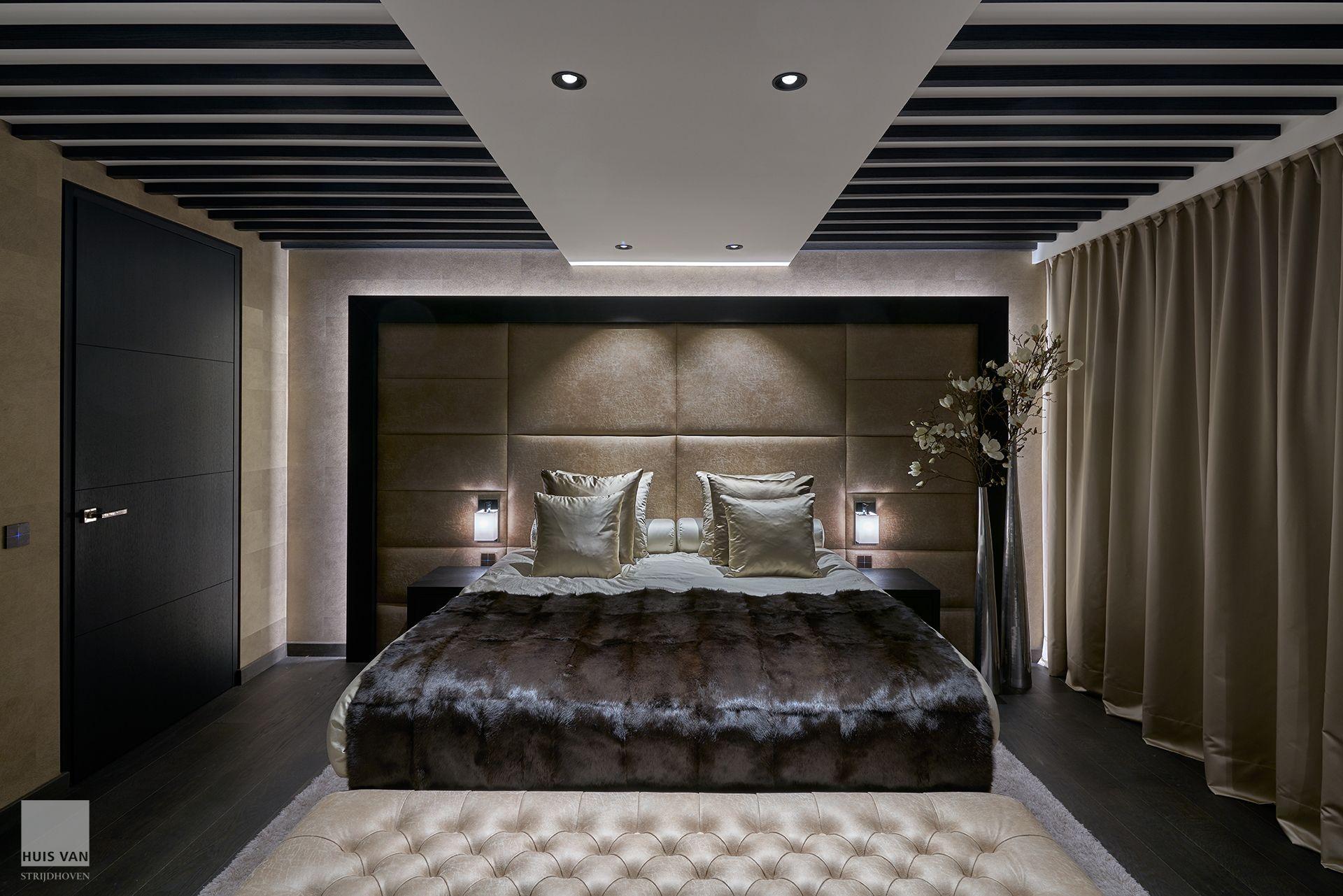 Luxury penthouse interior design houten vloer in slaapkamer houten