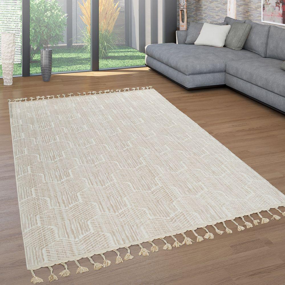 Retro Teppich 3 D Muster Kurzflor Beige Retro Teppiche Teppich Beige Beige Wohnzimmer