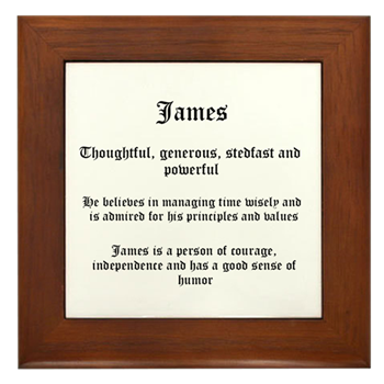 James Name Meaning Framed Tile By Prbnew2014 Comcast Net Cafepress In 2021 Names With Meaning Names Meant To Be
