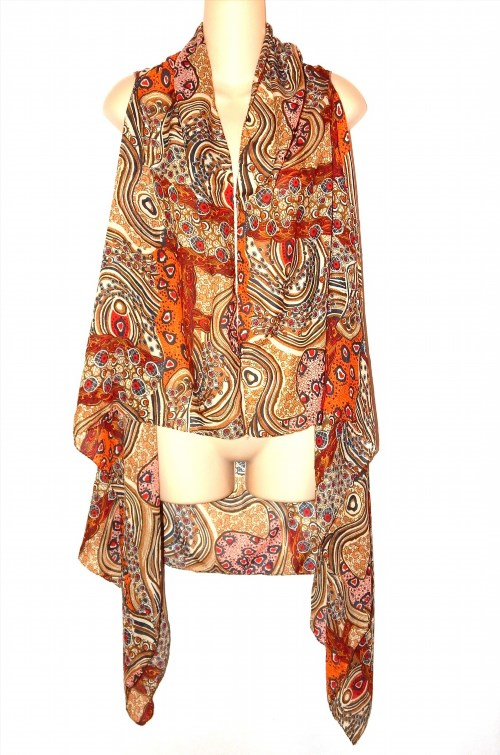 14.00$  Watch here - http://vigvb.justgood.pw/vig/item.php?t=nuy1q248328 - Womens Long Silky Open Duster Vest Earthy Brown Print No Brand One Size 14.00$