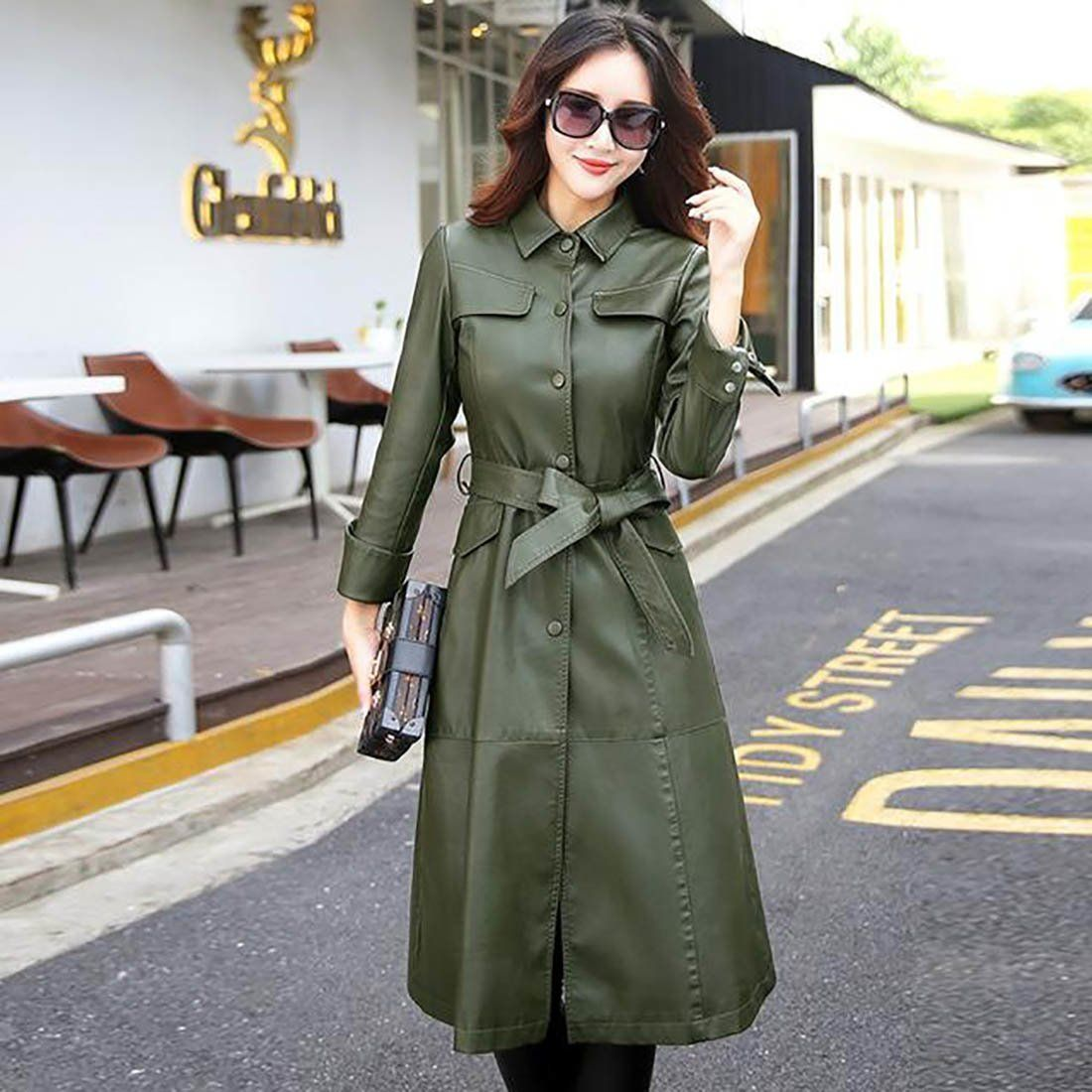 Women's Jacket Long PU Leather Elegant Washed Trench