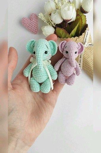 Photo of Elephant toy crochet pattern, little elephant pattern, Amigurumi Animal toy PDF tutorial, in English