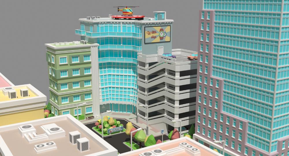 3d City River Buildings Architectural Model Architecture Model Architecture Building