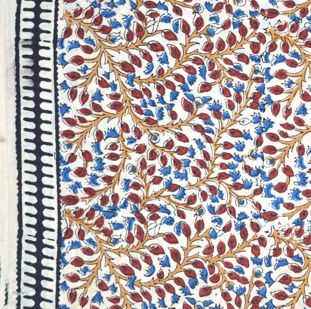 Traditional Kalamkari Pattern Indian Cotton Fabric By The Yard Print Color Red Blue Background
