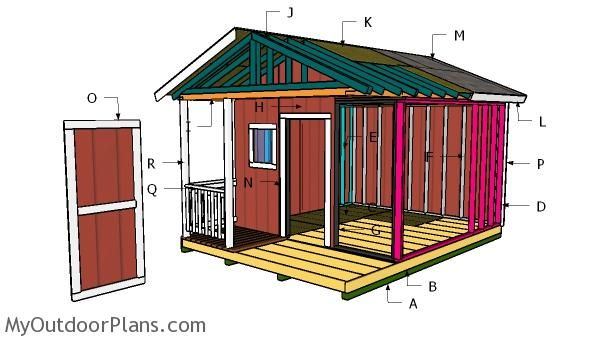 12x12 Gable Shed With Porch Plans Myoutdoorplans Free Woodworking Plans And Projects Diy Shed Wooden Playhous In 2020 Shed With Porch Play Houses Building A Shed