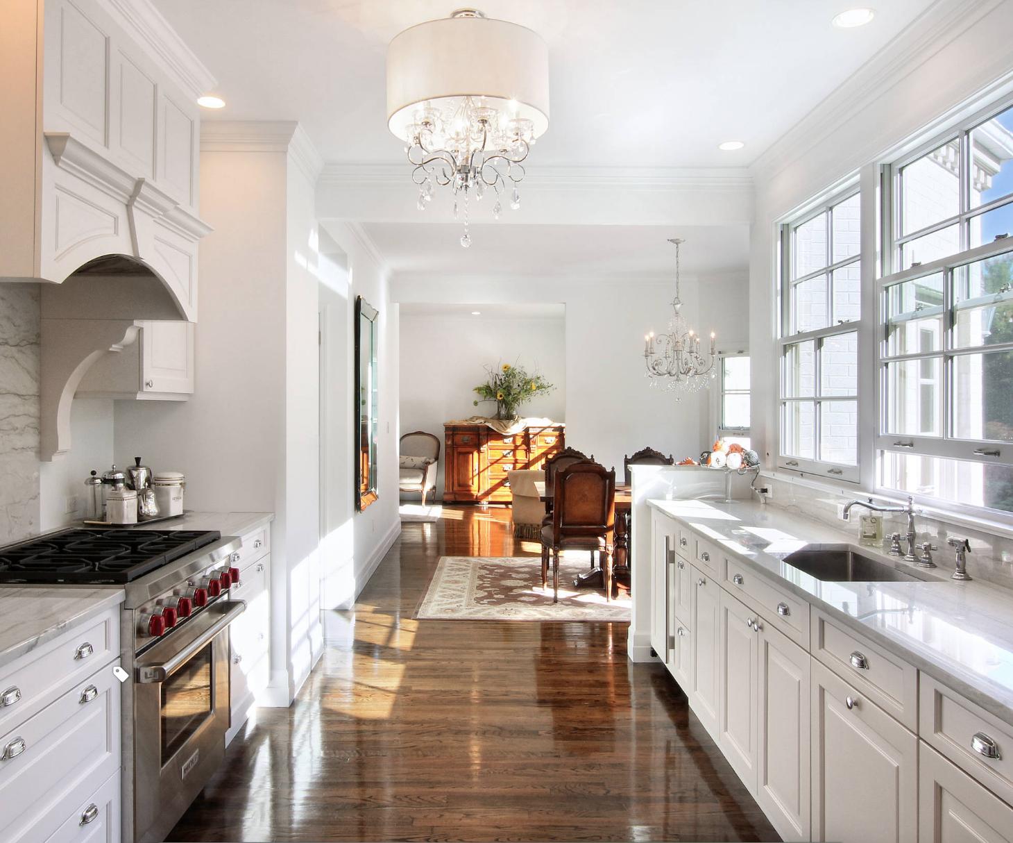 white galley kitchen with windows Galley kitchen design