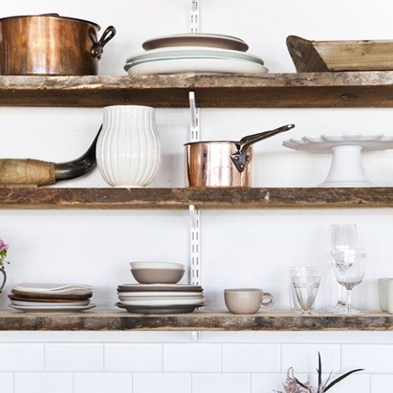Beautiful country inspired open kitchen shelves and glass door cabinets (image by Nicole Franzen)