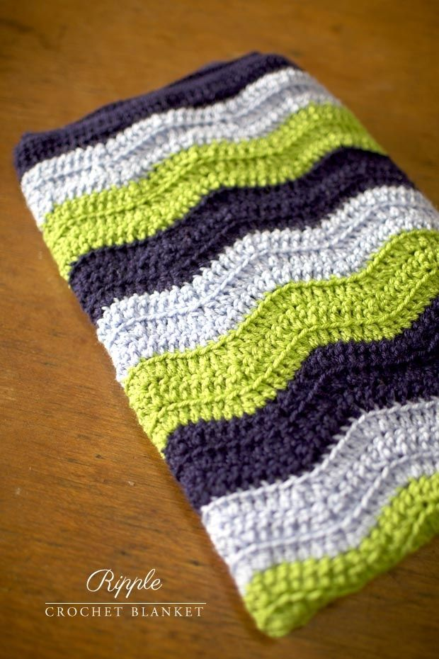 Ripple Crochet Blanket - love the ripples and the color choices | + ...