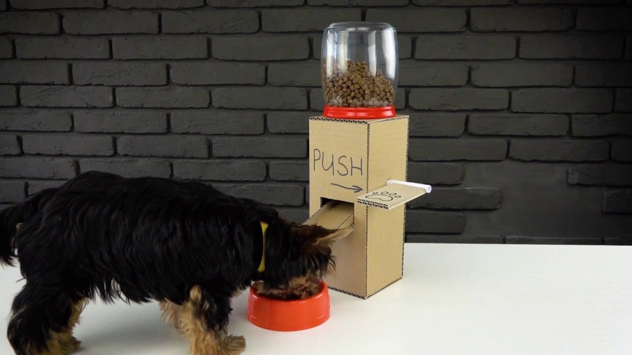 Gui For Making Puppy Dog Food Dispenser From Cardboard Crafts