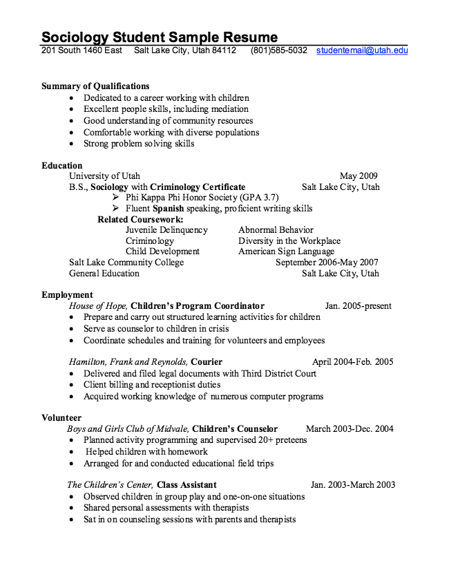 Work Resume Samples Sociology Student Resume Example  Httpresumesdesign