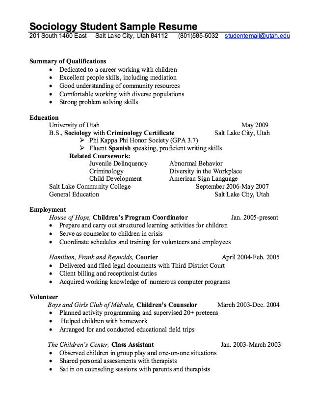 Sociology Student Resume Example Resumesdesign Student Resume Resume Examples College Resume Template