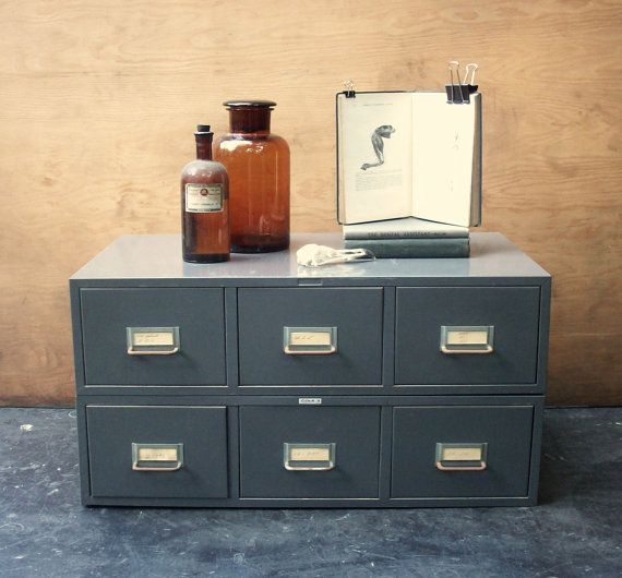 6 Drawer Vintage Metal Stacking File Cabinet / Library / Card Catalog /  Gray / Storage