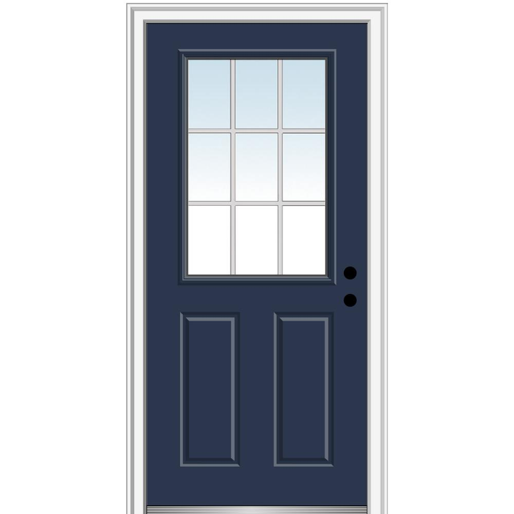 Mmi Door 36 In X 80 In Grilles Between Glass Left Hand Inswing 1 2 Lite Clear 2 Panel Painted Steel Prehung Front Door Z011270l In 2020 Prehung Doors Classic Doors Doors