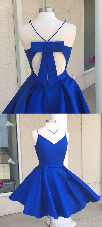 Royal Blue Homecoming Dresses,Short Prom Dresses,Semi Formal Dress,Satin Dresses,Short Cocktail Dress,Cute Dress,Birthday party dress,Open Back Dresses