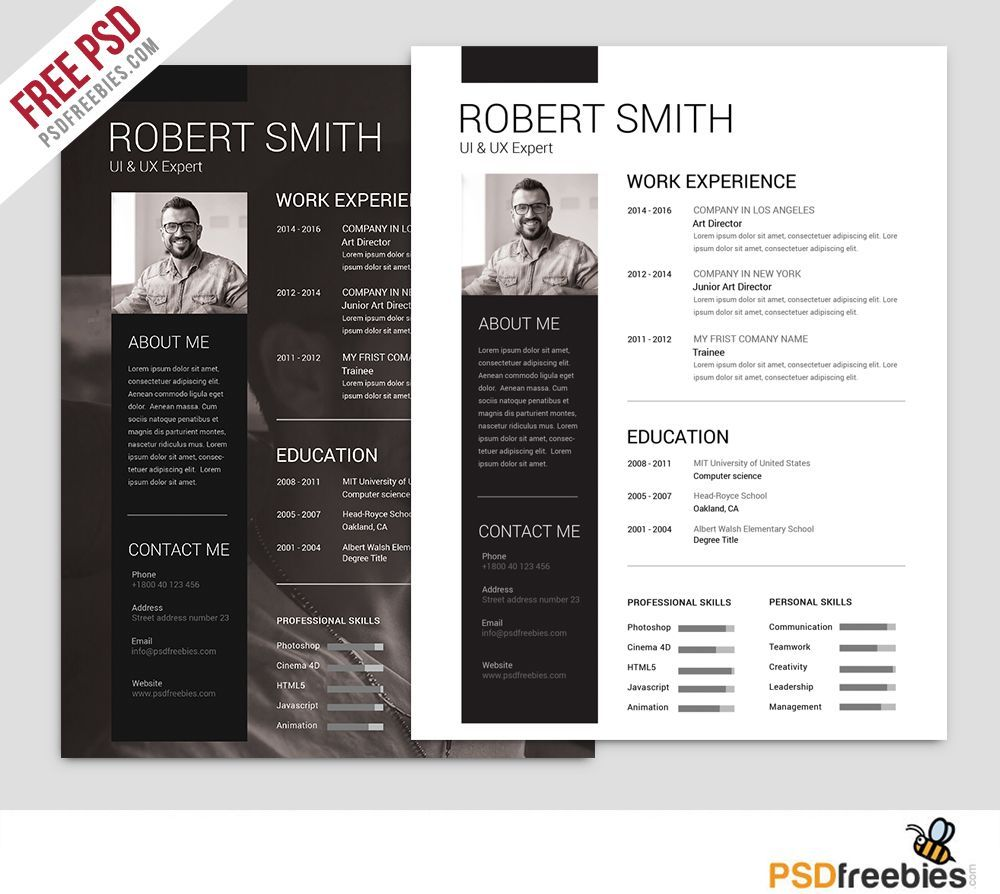 Simple and Clean Resume Free PSD Template Free