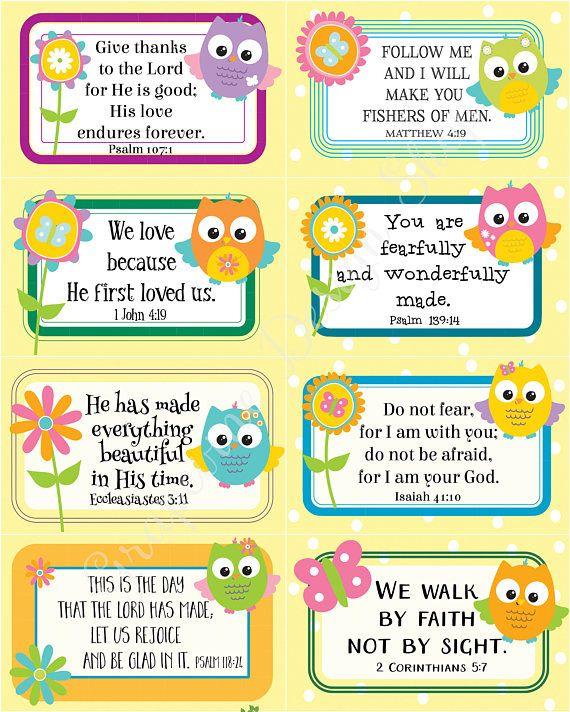 Scripture memory cards for kids 24 Bible verse cards for Children
