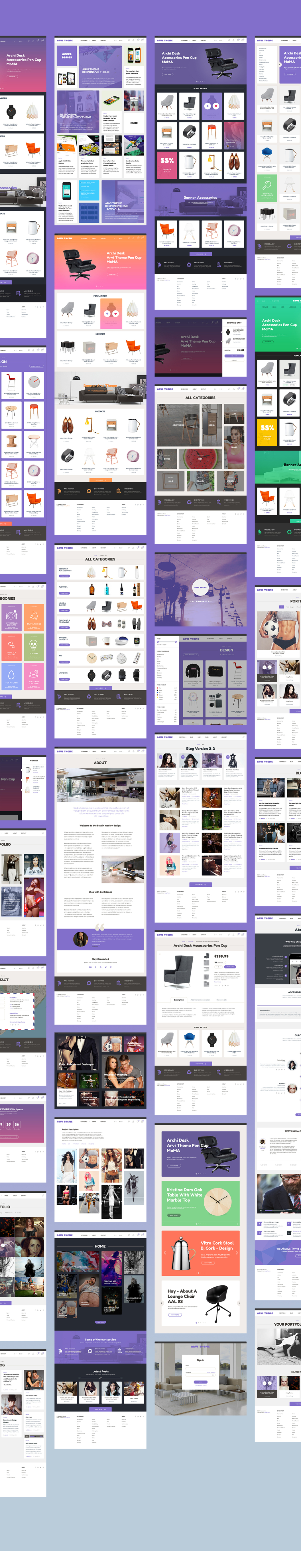 Arvi is a neat PSD template for eCommerce theme. Due to rounded corners the design is beautiful and elegant. Template is thought to be user-friendly. Design is not loaded with unnecessary elements and easily understood.