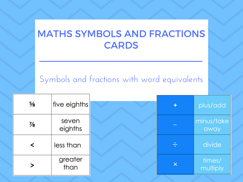 Maths Symbols Fractions And Word Equivalent Cards Esoleslealefl
