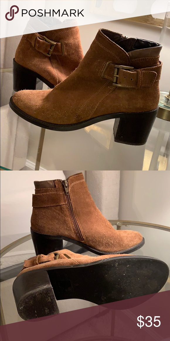 8102c2297 Steve Madden Nabina chestnut suede booties Size 9 chestnut suede ankle  bootie! Block heel and brushed gold accent buckle. Fall and winter staple!