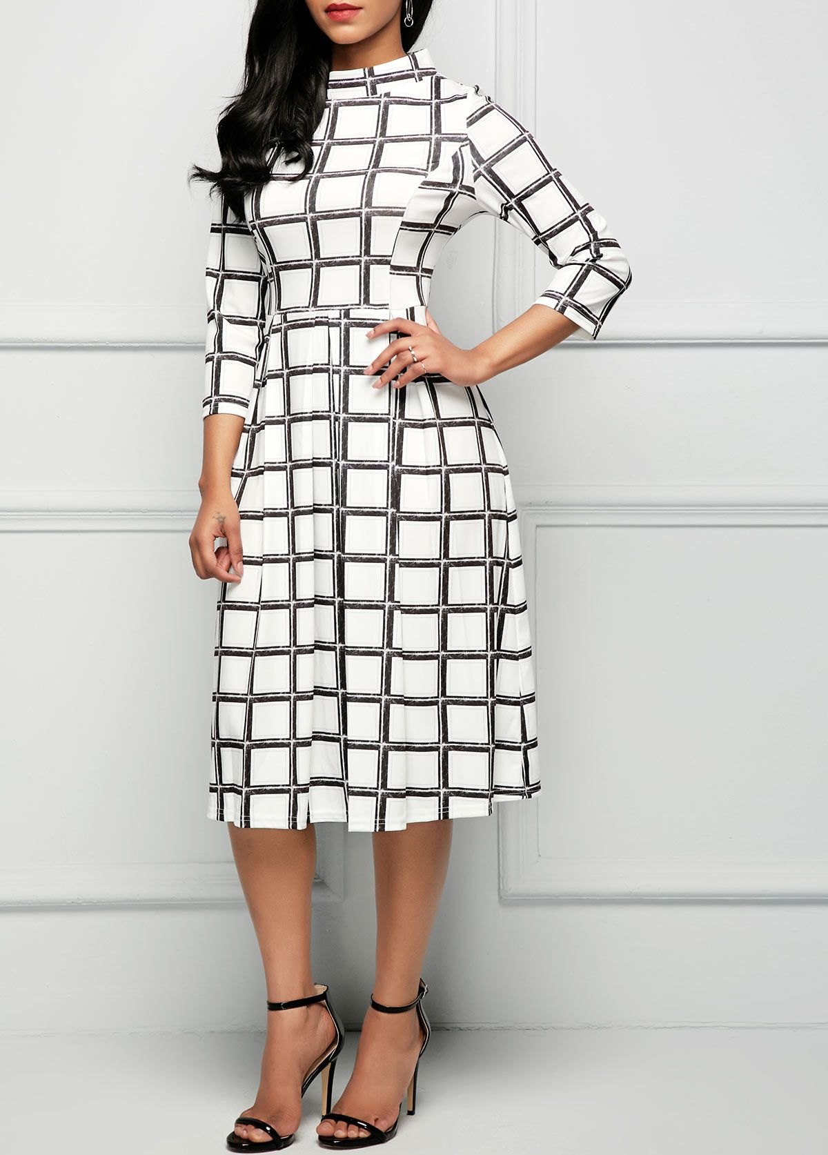 1f85b91f864b High Waist Printed Three Quarter Sleeve Dress | Rosewe.com - USD $32.19