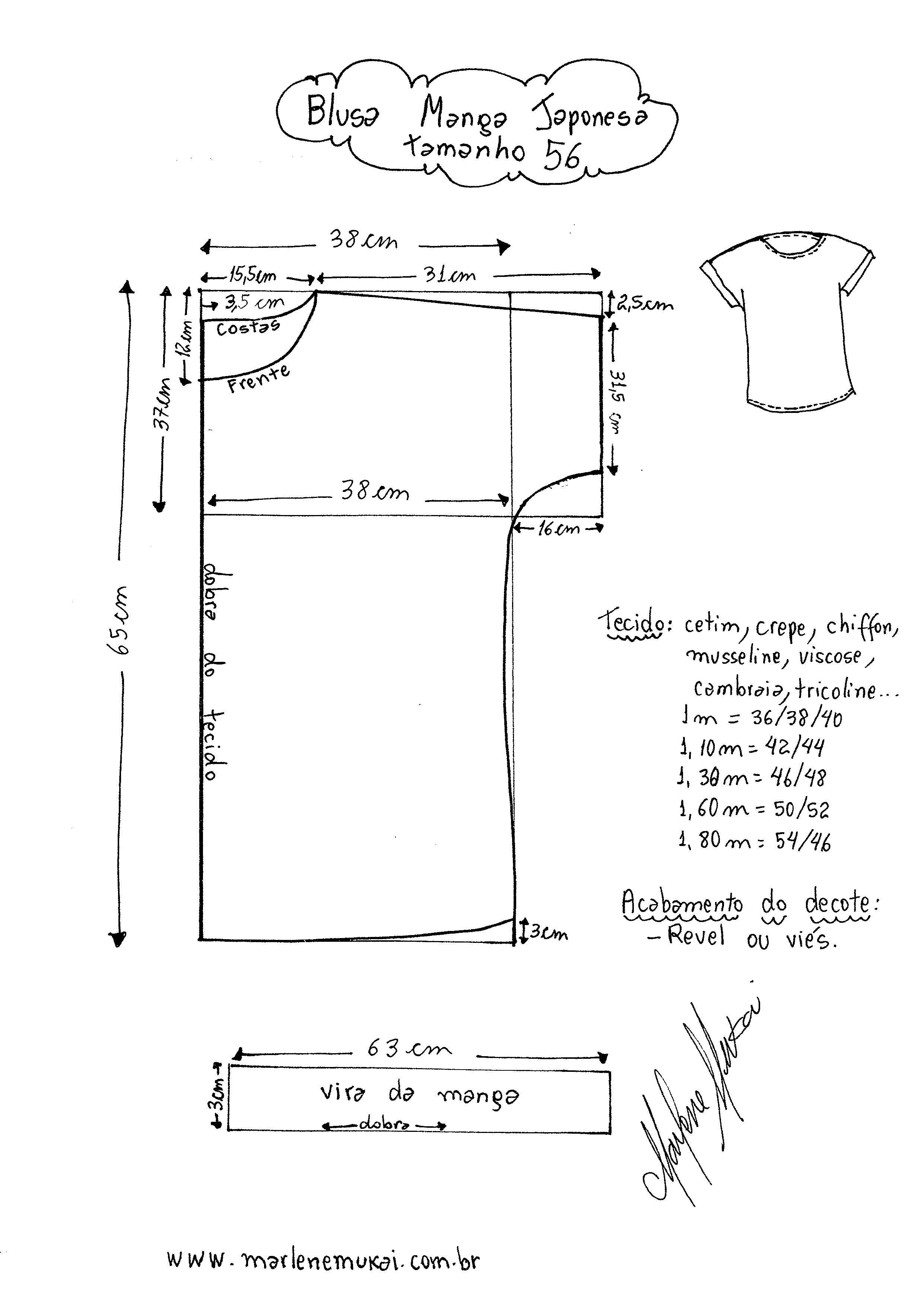 Blusa Manga Japonesa | minha pasta de modelo | Molde, Costura e ...