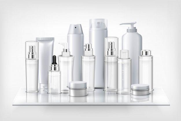 Conjunto de cosméticos botellas de plást  Free Vector