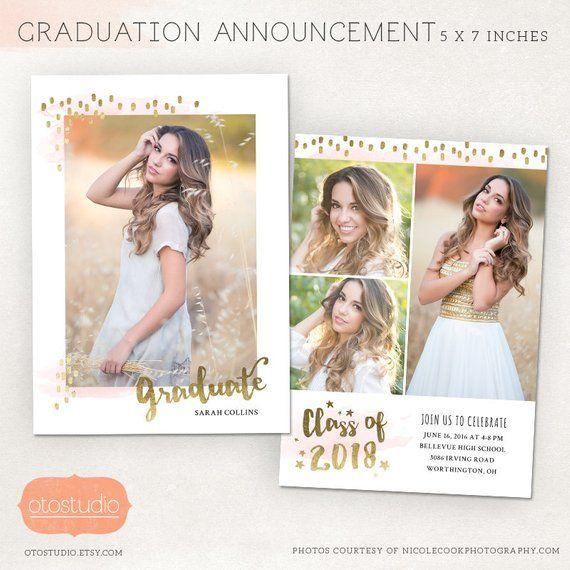 Graduation Announcement Template Senior Card for Photographers PSD