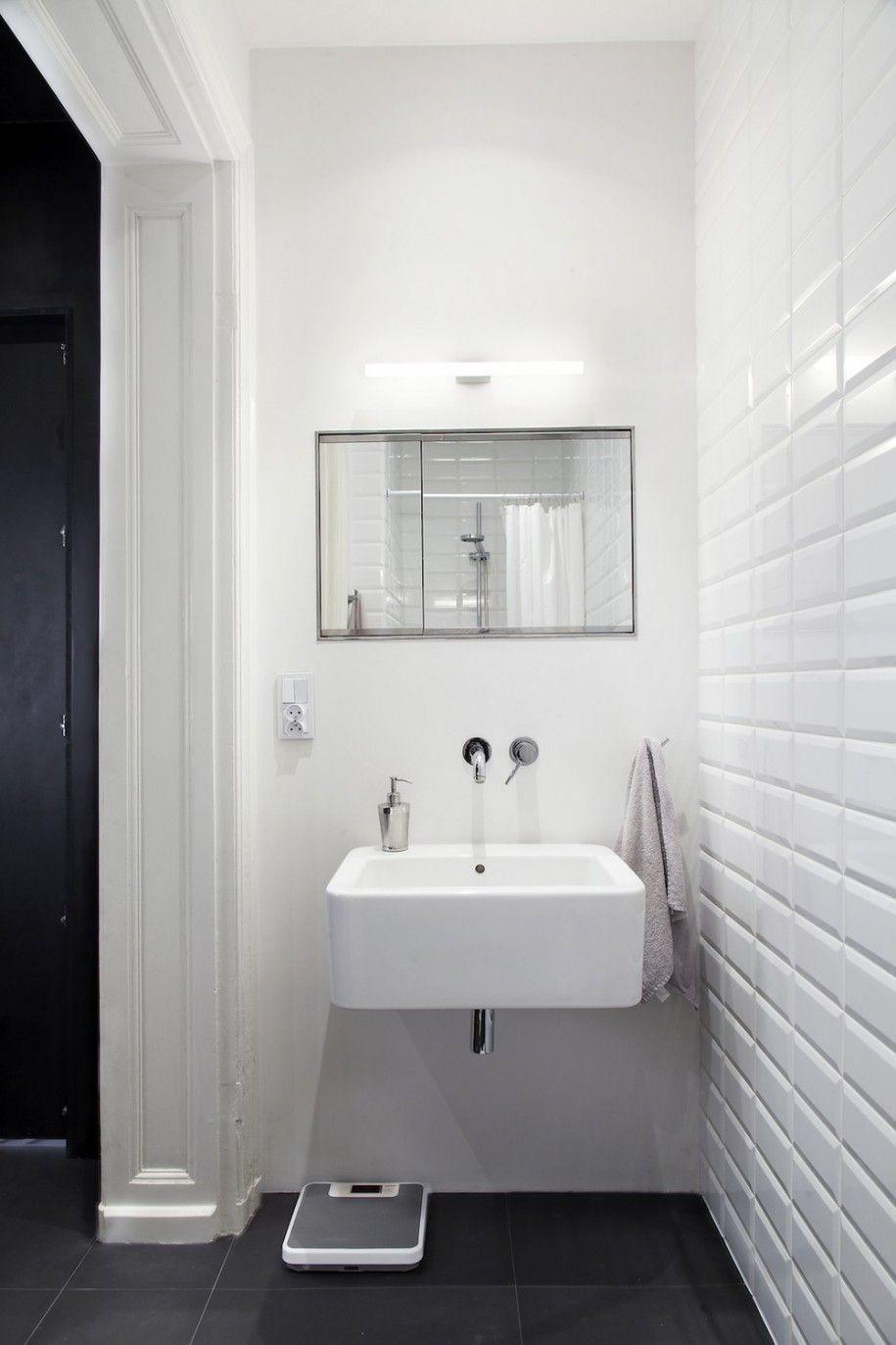 Scandinavian Apartment Design Idea : White Bathroom Wall Tile White ...