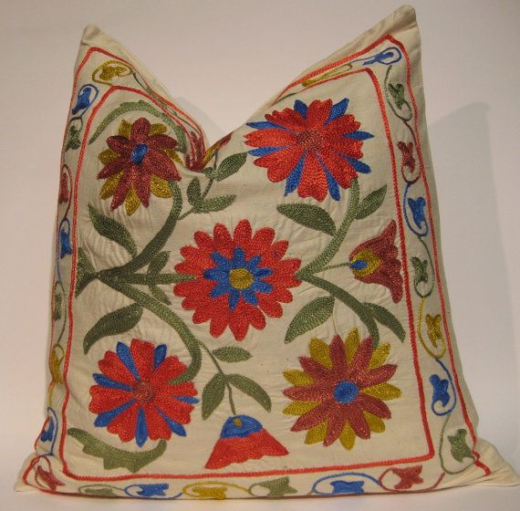 Embroidery Floral Needlecraft Suzani Pillow Cover by HandcraftMade, $49.00
