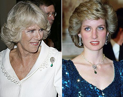 Camilla wearing it as a brooch - the oval diamond Prince of Wales feather pendant with detachable emerald drop was given to Diana by the Queen Mother at the announcement of Diana's engagement.  It had been a gift to Princess Alexandra when she married King Edward VII in 1863.