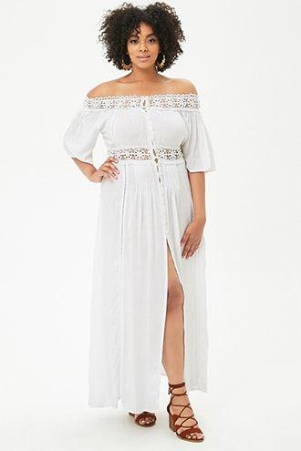 2813bc5e020 Plus Size Boho Me Crochet-Trim Maxi Dress