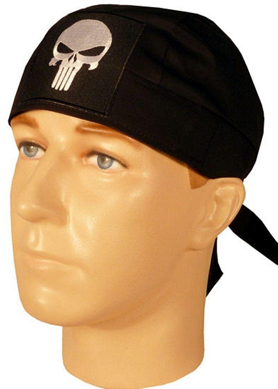 Specialty Skull Cap - Biker Caps Skull Punisher Patch on Black Headwraps -  C012ELHNSIF - Hats   Caps 0f128718361