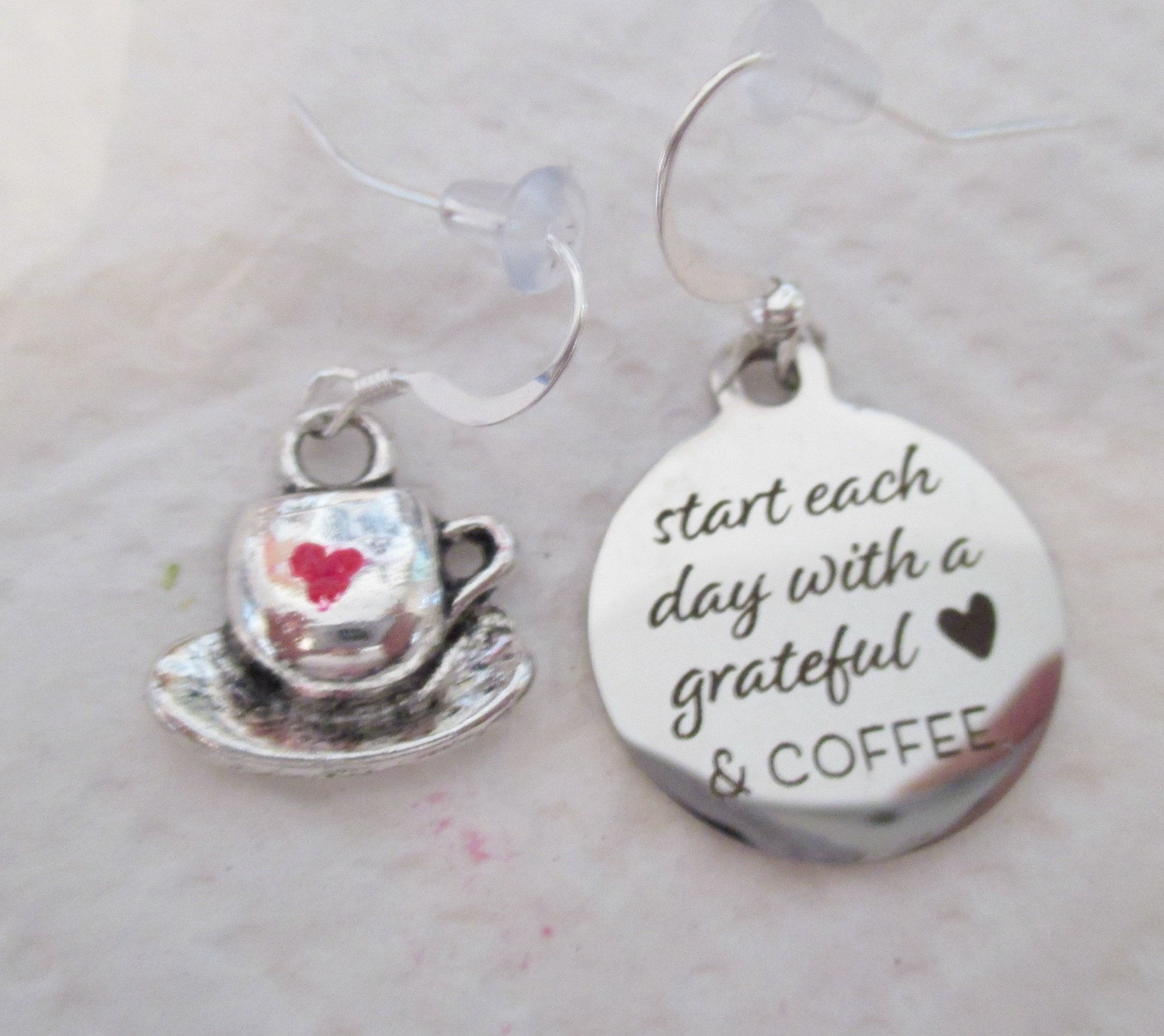 Grateful Heart and Coffee Mismatched Silver Earrings one pair