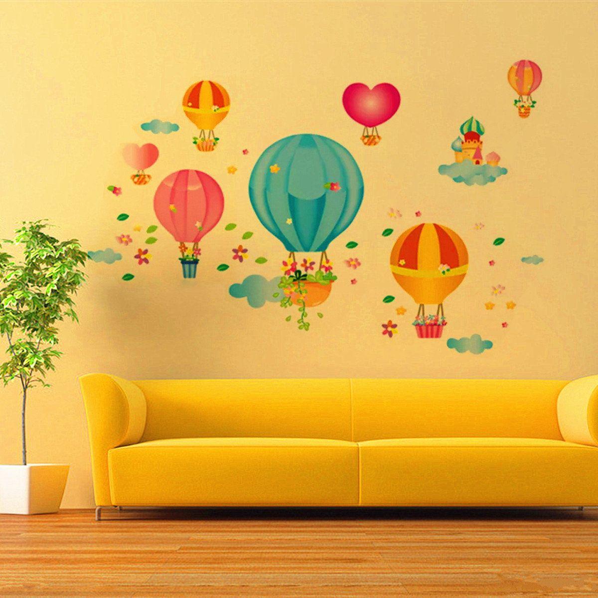 Children Kids Baby Cartoon Fire Balloon Bedroom DIY Adhesive Art ...