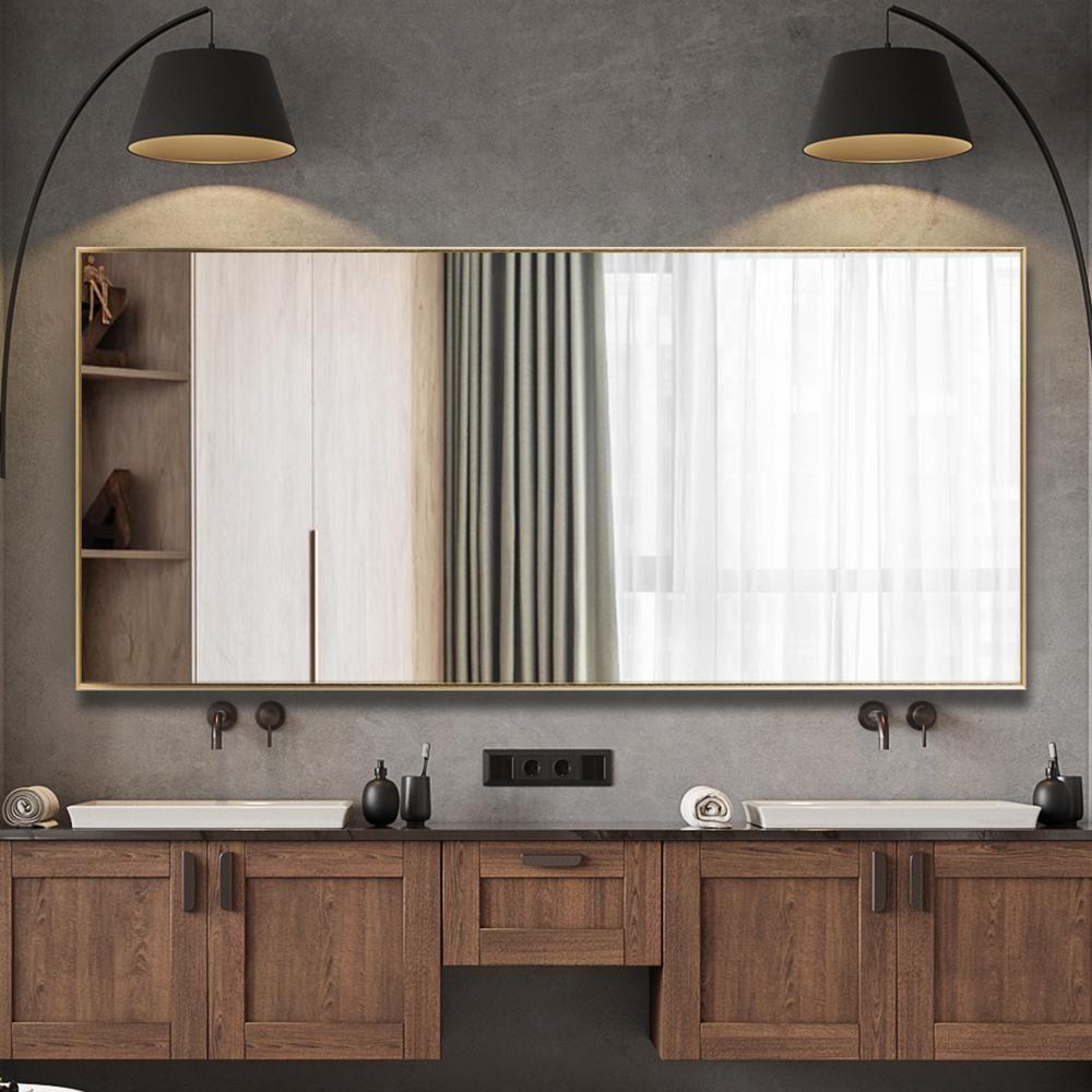 Neu Type 71 In X 31 In Oversized Modern Rectangle Metal Framed Bathroom Vanity Mirror Jj00945zze The Home Depot Bathroom Vanity Mirror Modern Rectangle Full Length Floor Mirror