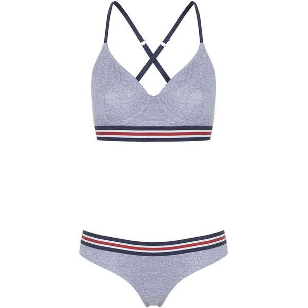 Sporty Stripe Bralet and Mini Panties (£35) ❤ liked on Polyvore featuring intimates, panties, striped panties, stripe panties and striped panty