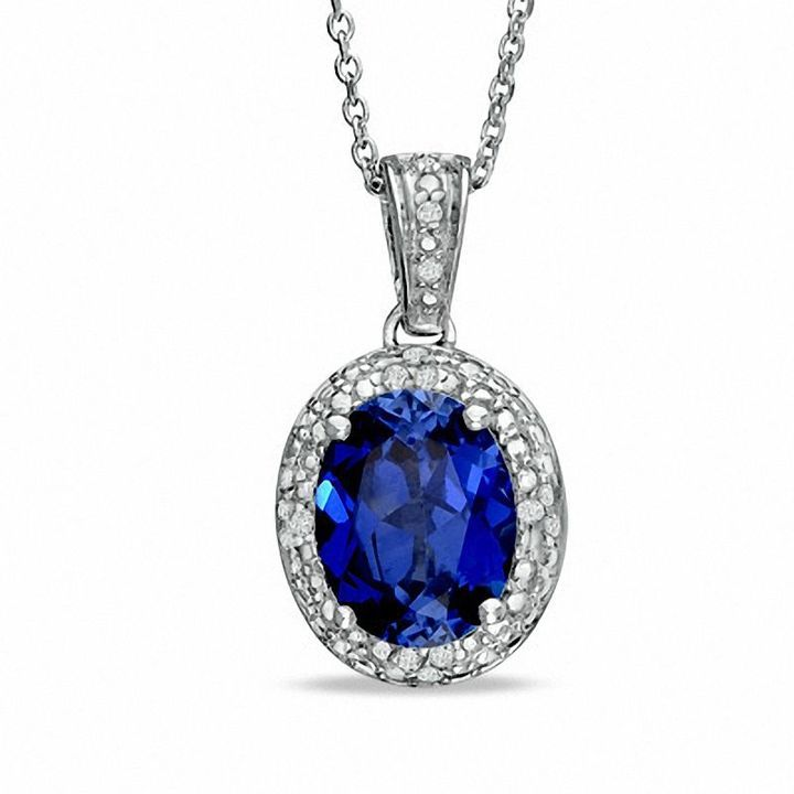 Zales Oval Lab-Created Blue Sapphire and Diamond Accent Pendant in Sterling Silver XTDnk2lfzw