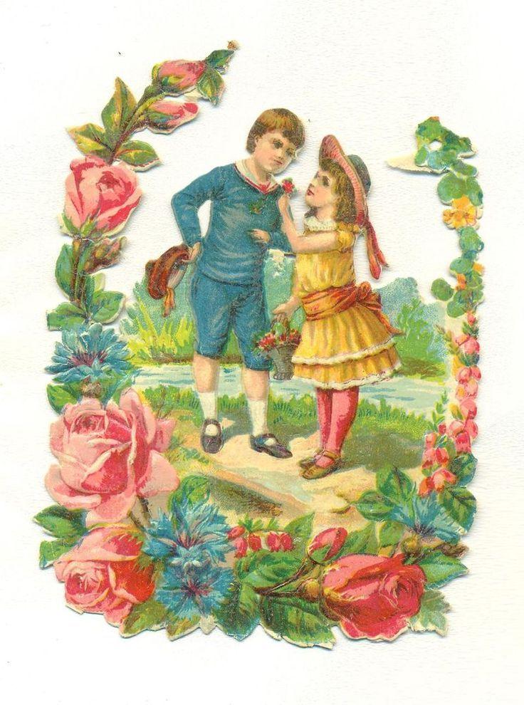 victorian   scrap children in bower