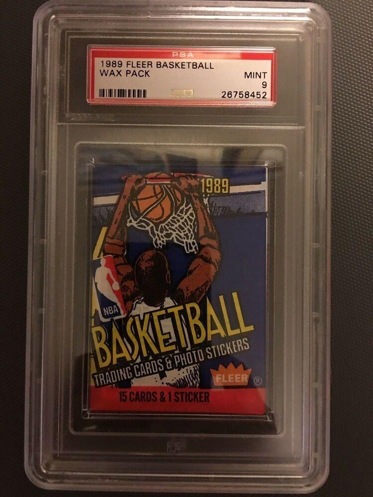 1989 fleer basketball sealed unopened wax pack psa 9 mint