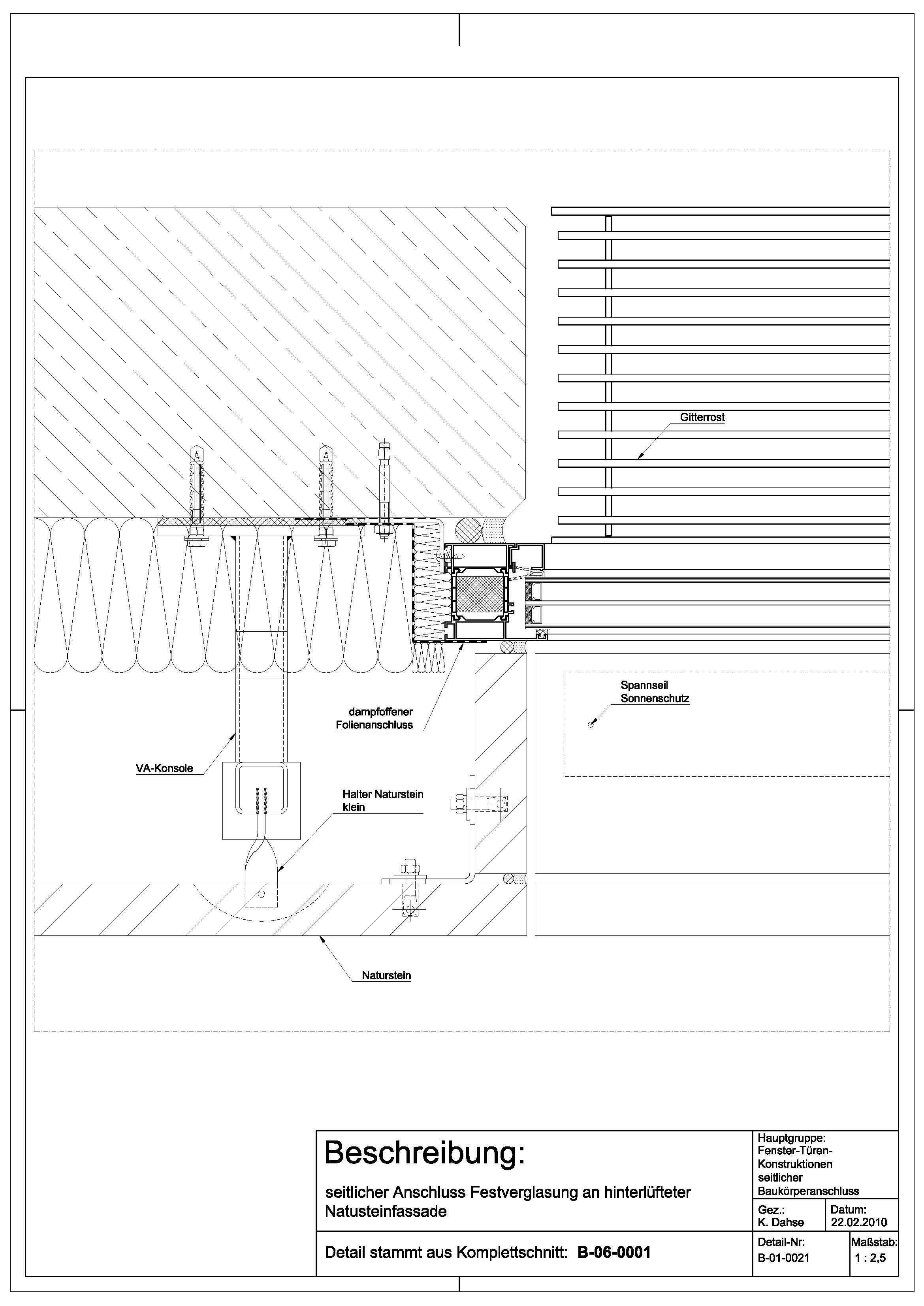 Tür detail grundriss  B-01-0021 Anschluss Festverglasung an hinterlüfteter ...