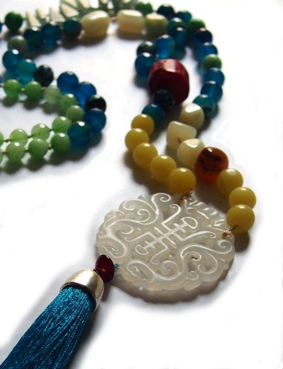 Collar largo mezcla de piedras naturales jade coral por for Piedras naturales