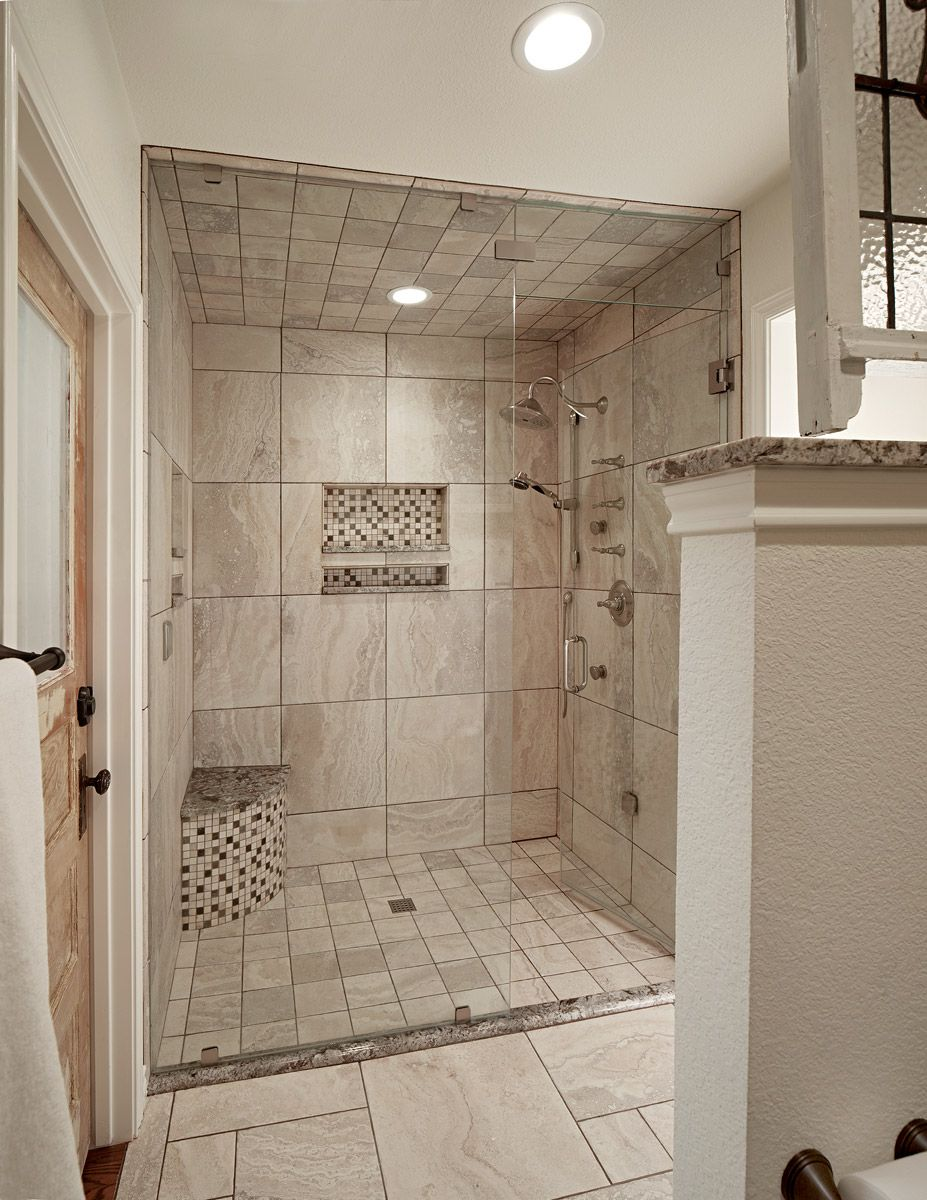 Low Threshold Shower Note Floor And Ceiling Tiles Match Universal Design From Graf Devel Farmhouse Master Bathroom Master Bathroom Makeover Bathroom Makeover