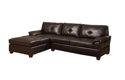 Poundex Bobkona Montreal Bonded Leather 2 Piece Reversible Sectional Sofa,  Espresso Poundex Http: