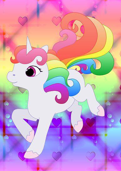 Cute Baby Rainbow Unicorn Poster By Lyddiedoodles In 2021 Unicorn Poster Unicorn Pictures Cute Rainbow Unicorn