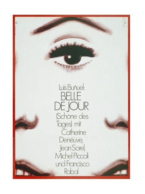 Hans Hillmann, film Poster for Bunuel's Belle de Jour with Catherine Deneuve, 1967. Neue Filmkunst, Germany. Source zhdk