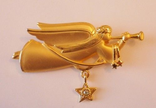 "JJ Artifacts Gold ""Angel with Trumpet and Dangling AB Rhinestone Star"" Pin"