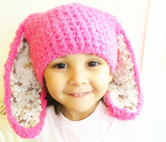 Super Soft Baby Girls Boys Bunny Easter Rabbit Ears Winter Bonnet Hat Up to 3 Years Pink