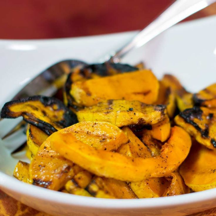 Grilled Butternut Squash with Honey Maple Glaze The honey maple glaze on this grilled butternut squash creates a crispy flavorful crust that tastes delicious