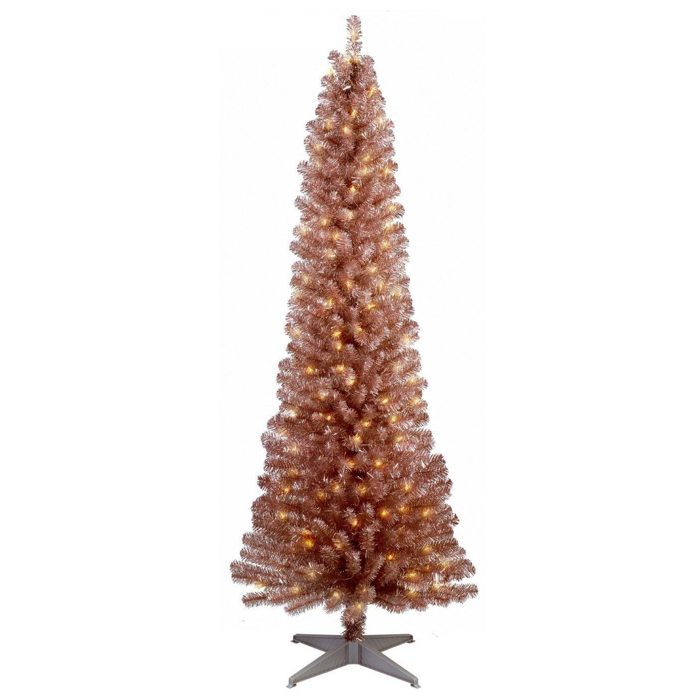 6ft Prelit Artificial Christmas Tree Light Blush Metallic Slim Alberta Spruce Clear Lights W Rose Gold Christmas Metal Christmas Tree Christmas Tree Lighting